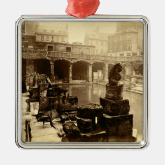 The Great Roman Bath, Bath (b/w photo) Christmas Ornament