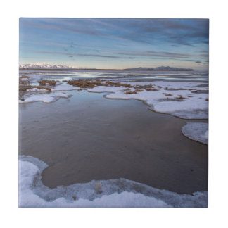 The Great Salt Lake in Utah Sunrise Tile