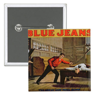 'The Great Saw Mill Scene', Poster for 'Blue Jeans 15 Cm Square Badge