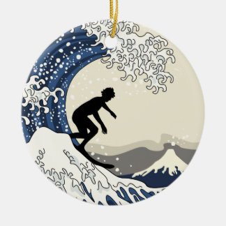 The Great Surfer of Kanagawa Christmas Ornament