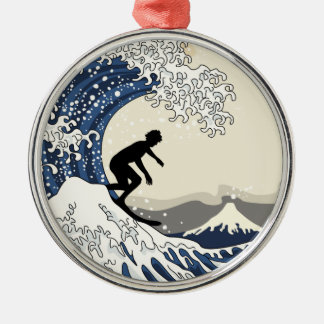The Great Surfer of Kanagawa Silver-Colored Round Decoration