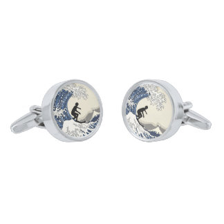 The Great Surfer of Kanagawa Silver Finish Cufflinks