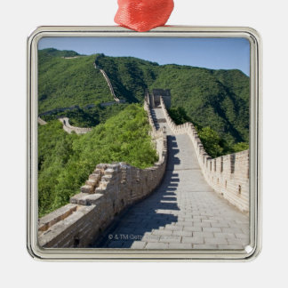 The Great Wall of China in Beijing, China Silver-Colored Square Decoration
