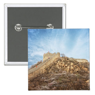 The great wall of China outside Beijing 15 Cm Square Badge