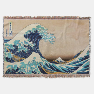 The Great Wave by Hokusai Vintage Japanese Throw Blanket