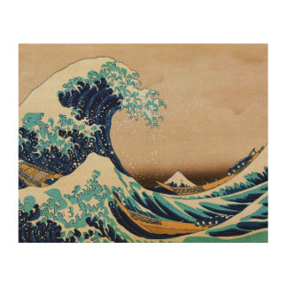 The Great Wave by Hokusai Vintage Japanese Wood Canvas