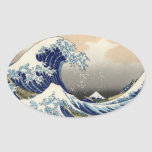 """""""The Great Wave"""" copy of Hokusai's original c.1930 Oval Stickers"""