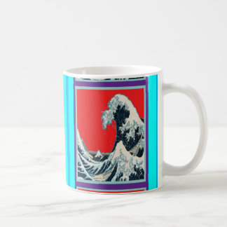 The great wave in red designed by Sharles Basic White Mug