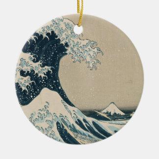 The Great Wave of Kanagawa, Views of Mt. Fuji Round Ceramic Decoration