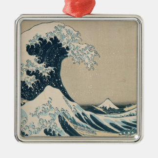 The Great Wave of Kanagawa, Views of Mt. Fuji Silver-Colored Square Decoration