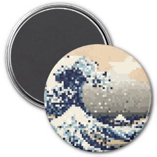 The Great Wave off Kanagawa 8 Bit Pixel Art Refrigerator Magnet