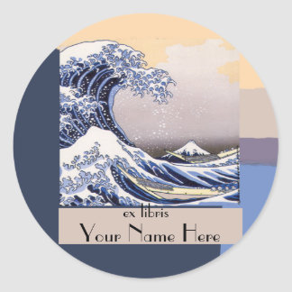 The Great Wave off Kanagawa Bookplate Round Stickers