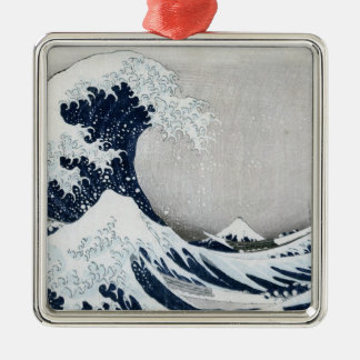 The Great Wave off Kanagawa Silver-Colored Square Decoration