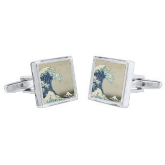 The Great Wave off Kanagawa Silver Finish Cuff Links