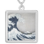 The Great Wave off Kanagawa Square Pendant Necklace