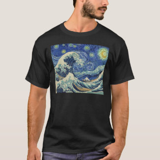 The Great Wave Off Kanagawa - The Starry Night T-Shirt