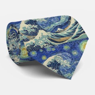 The Great Wave Off Kanagawa - The Starry Night Tie