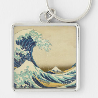 The Great Wave Off Shore of Kanagawa Silver-Colored Square Key Ring