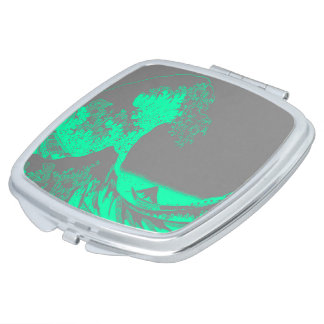 The Great Wave Seafoam Green & Gray Compact Mirror