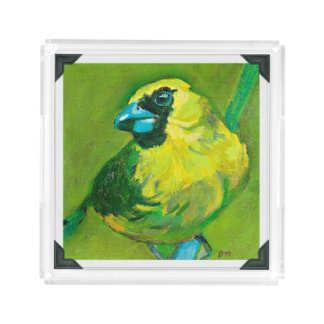 The Green Bird with the Blue Beak Acrylic Tray