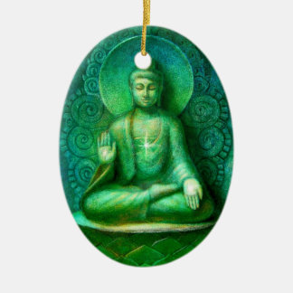 The Green Buddha Oval Christmas Ornament