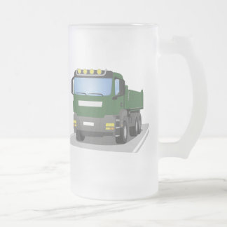 the Green building sites truck Frosted Glass Beer Mug