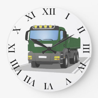 the Green building sites truck Large Clock