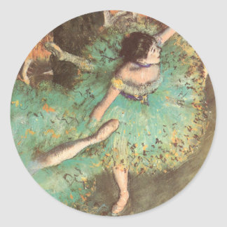 The Green Dancer by Edgar Degas, Vintage Ballet Classic Round Sticker