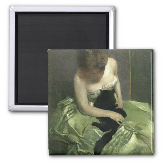 The Green Dress Square Magnet