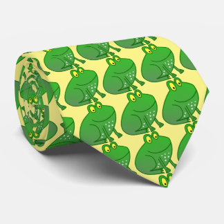 The green Frog Prince with yellow background Tie