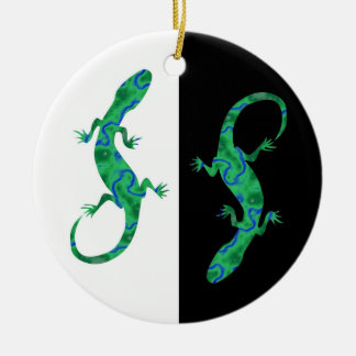 The Green Gecko kind Deco black and white Design Christmas Ornament