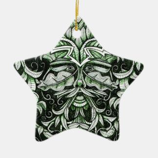 The Green Man Ceramic Star Decoration