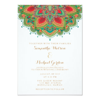 The Green Mandala Wedding Invitation Card