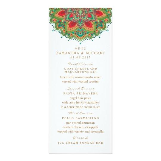 The Green Mandala Wedding Menu Card
