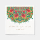 The Green Mandala Wedding Paper Napkin