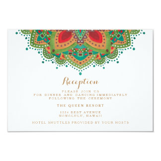 The Green Mandala Wedding Reception Card 9 Cm X 13 Cm Invitation Card