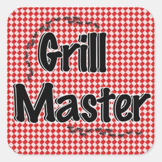The Grill Master w/Picnic Table & Ants Square Sticker