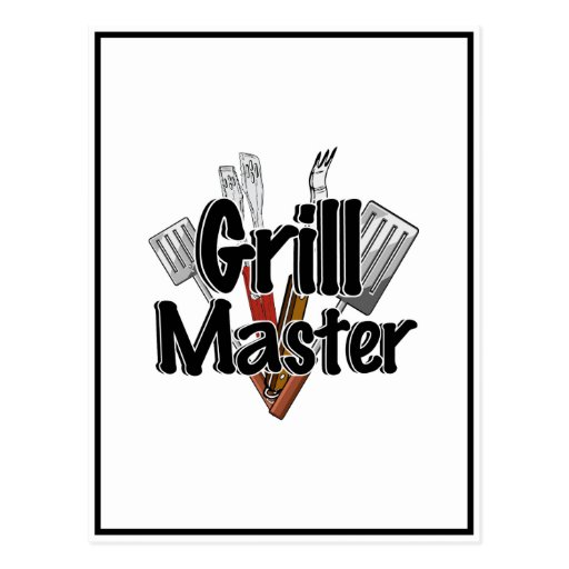 The Grill Master with BBQ Tools Post Card