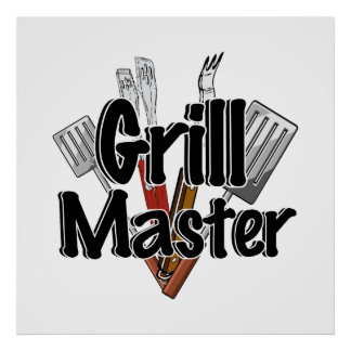 The Grill Master with BBQ Tools Poster