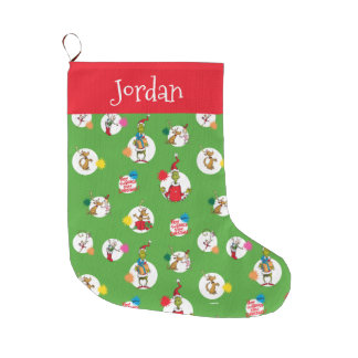 The Grinch | Christmas Dot Pattern Large Christmas Stocking