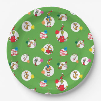 The Grinch | Christmas Dot Pattern Paper Plate