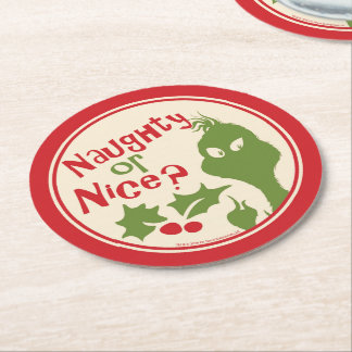 The Grinch | Naughty or Nice Round Paper Coaster