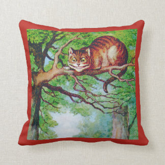 The Grinning Cheshire Cat in Wonderland Throw Pillow