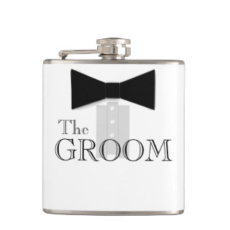 The Groom Bow Tie Tuxedo Hip Flask