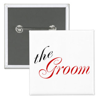 The Groom (Script Red) 15 Cm Square Badge