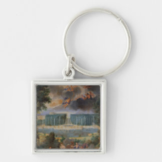 The Groves of Versailles. View of pool of Neptune Silver-Colored Square Key Ring