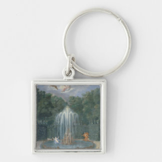 The Groves of Versailles. View of Star or Water Silver-Colored Square Key Ring
