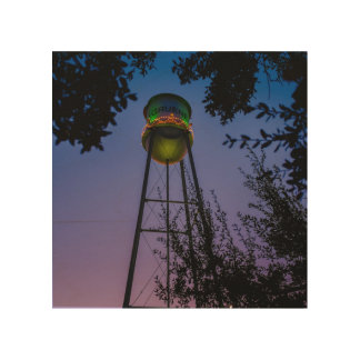 The Gruene water tower with the purple evening sky Wood Canvas