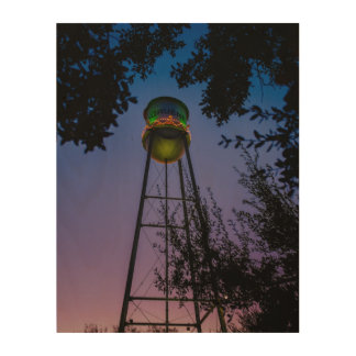 The Gruene water tower with the purple evening sky Wood Print