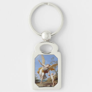 """The Guardian Angel"" art key chain Silver-Colored Rectangle Key Ring"
